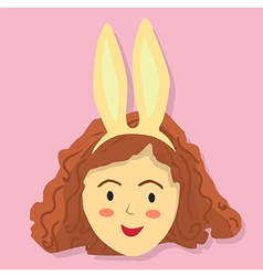 Cute curly girl with rabbit headband vector