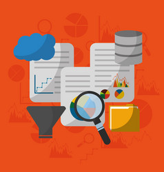 data technology analysis search filter process vector image