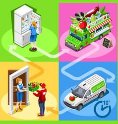 food truck greengrocer vegetable home delivery vector image