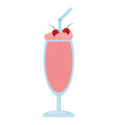 Glass cup milk shake cherry vector