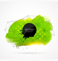 Green watercolor grunge with wireframe mesh vector