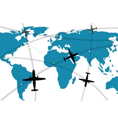 international flight routes vector image