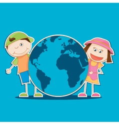 Kids holding the world vector