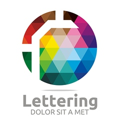 Logo Abstract Lettering R Rainbow Alphabet Icon vector image