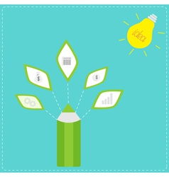 Pencil with business icons and light bulb sun Idea vector image vector image