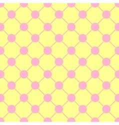 Pink polka dot chess board grid yellow vector