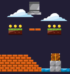 Pixel game level with cloud coins brick wall vector