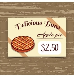 Price tag design apple pie vector