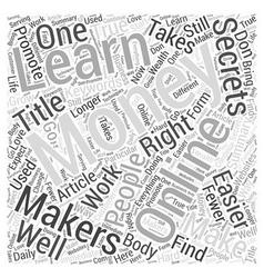 Secrets of the online money makers word cloud vector