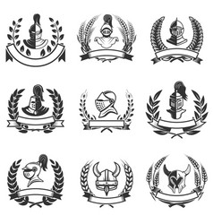 set of the emblems with knights helmets and swords vector image vector image