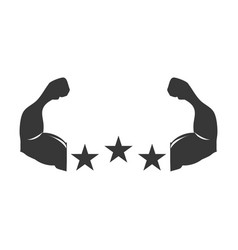 Silhouette muscular arms with stars shape vector