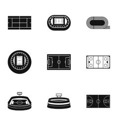Stadium icons set simple style vector