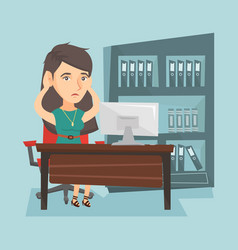 Tired caucasian office worker clasping her head vector