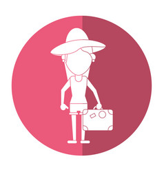 Traveler woman hat suitcase shadow vector