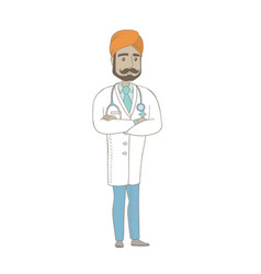 Young indian confident doctor with folded arms vector