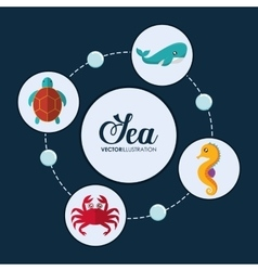 Crab tortoise whale and sea horse icon vector