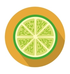 Colorful circular shape with slice lemon fruit vector
