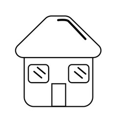 Silhouette house with door roof and windows icon vector