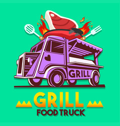 Food truck grill bbq fast delivery service logo vector