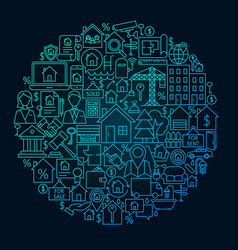 Real estate line circle concept vector