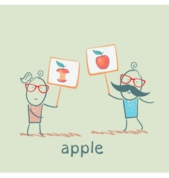 girl and boy holding posters with apples vector image