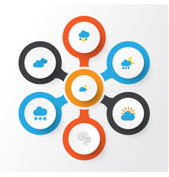 Weather flat icons set collection of lightning vector
