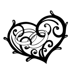 Heart rings wedding vector image