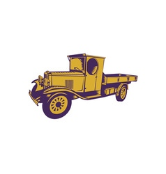 1920s pick-up truck woodcut vector