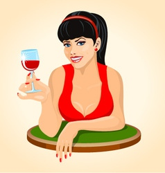 Beautiful brunette woman in red dress with a glass vector