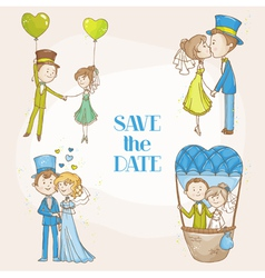 Bride and Groom - Wedding Doodle Set vector image
