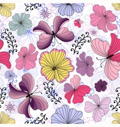 White seamless floral pattern vector