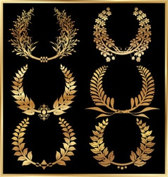 Golden laurel wreaths  set vector