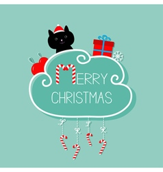 Cat in santa hat giftbox snowflake ball merry vector