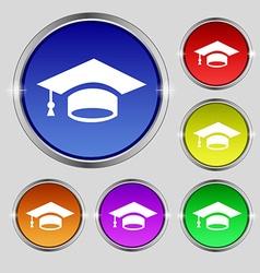 Graduation icon sign Round symbol on bright vector image
