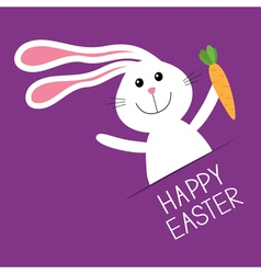 Happy easter bunny rabbit hare holding carrot vector