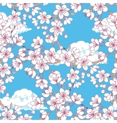 Seamless pattern with sakura and clouds vector