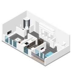 Residential apartment with balcony isometric icon vector