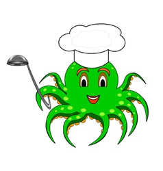 A cartoon octopus with a chef hat and a ladle vector