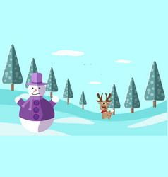 a hand drawing winter scene with deer and snowman vector image vector image