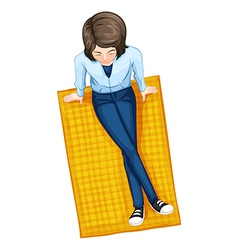A topview of a girl above the mat vector image