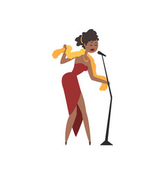 African american female soul singer in red dress vector