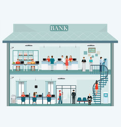 Bank building exterior and interior with counter vector