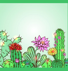 cactus on a green background vector image vector image