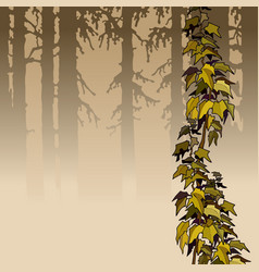 Cartoon brown woods with yellow ivy plant vector