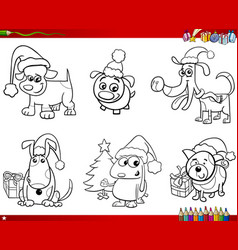 cartoon dogs on christmas set coloring book vector image vector image