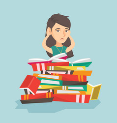 caucasian student sitting in a huge pile of books vector image vector image