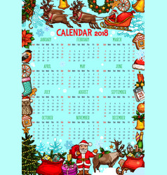 Christmas calendar with new year holiday sketches vector