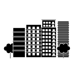 Contour city scene and buildings with trees image vector