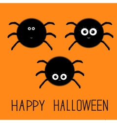 Cute fluffy spider set Happy Halloween card Flat vector image vector image