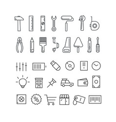 Different thin line icons collection vector